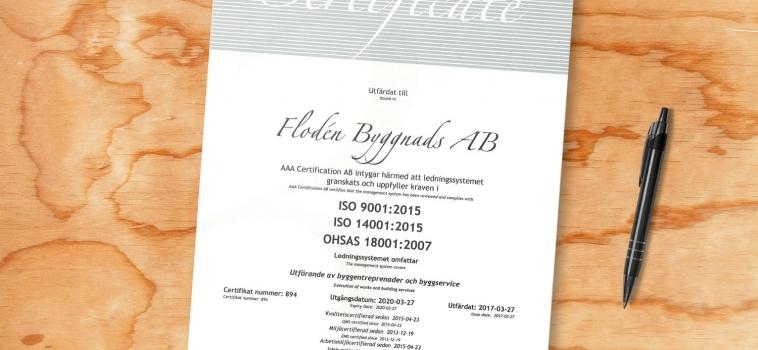 Nya Certifikat – Kvalité, miljö och arbetsmiljö